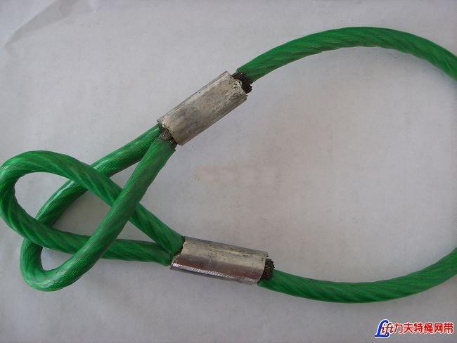 双扣注塑钢丝绳_涂塑钢丝绳_压制注塑钢丝绳索具_注塑钢丝绳索具